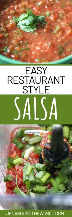This easy restaurant-style salsa can be whipped up in no time! Goes perfect for game day, and all parties and get-togethers, or when you are at home and are craving a bowl of chips and salsa. Restaurant Style Salsa, Easy Restaurant, A Food, Good Food, Yummy Food, Appetizers For A Crowd, Mexican Food Recipes, Ethnic Recipes, Chips And Salsa