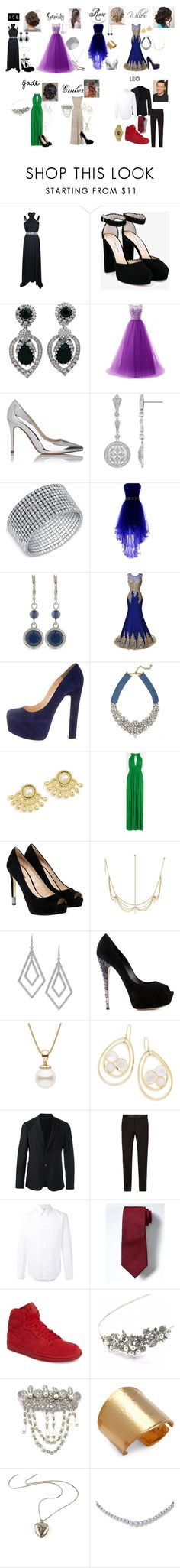"""Prom outfits"" by k-popcornpaco on Polyvore featuring Versace, Jimmy Choo, Ciner, L.K.Bennett, Nine West, Dolce&Gabbana, Christian Louboutin, BaubleBar, BCBGMAXAZRIA and GUESS"