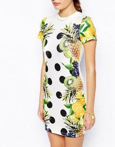 soo fresh - ASOS Tropical Fruit Print T-shirt Bodycon Dress