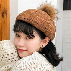 Retro brown plaid beret hat for women wool hats with ball on top Top Hats For Women, Winter Hats For Women, French Hat, Wool Berets, Knitted Hats, Wool Hats, Beautiful Outfits, Beautiful Clothes, Hats Online