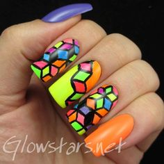 The Digit-al Dozen does geometric: brights - a manicure using All That Jazz Ice Ice Baby, All That Jazz Welcome To After Hours, LA Colors Frill, LA Colors Flicker, LA Colors Mint, LA Colors Absolute, LA Colors Spat!, LA Colors Aquatic, LA Colors Illusion, LA Colors Hottie and Acrylic Paint