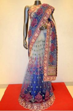 Designer Shaded Embroidery Net Saree Product Code: AB208698