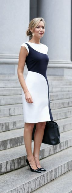 What to wear for a business presentation {white and navy colorblocked sheath dress, black pointed toe patent leather pumps, black tote, low bun hairstyle} {the limited, sjp collection, kate spade new york}