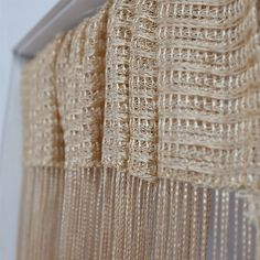 Our Latte string curtain. Also available in different colours and styles. Can be used as a fly screen, room divider and curtain. What new use for these can you think of? Voile Panels, Panel Curtains, String Curtains, Curtain Rods, Window Treatments, Interior And Exterior, Different Colors, Farmhouse Decor, Latte
