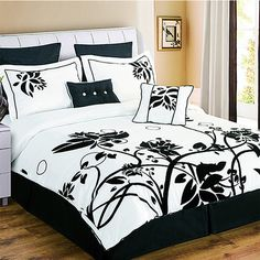 8-Piece Set: Chelsea Comforter Collection - Black & White $79.00 $169.00 Retail This 8-Piece Chelsea Comforter Set includes everything you need to end a busy day in extreme comfort and start fresh every morning. The gorgeous design features elegant texturing against a beautiful black and white flower design thats a delight to the eyes and feels unbelievable to lay around in. Youll find yourself cuddling up to your sweetie under this set out of pure joy and relaxation.