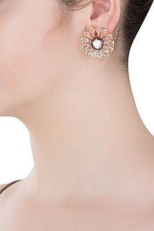 Aster Gold Finish Blue Zircon Flower Stud Earrings Flower Earrings Studs Jewelry Design Jewelry