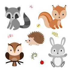Woodland animals and decor elements set. Vector illustration isolated on white background. Woodland Theme, Woodland Baby, Forest Animals, Woodland Animals, Baby Shower Clipart, Fabric Print Design, Forest Friends, Animal Decor, Woodland Creatures
