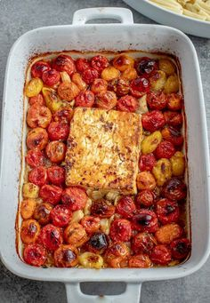 You have GOT to try this roasted tomato pasta! Tomatoes are roasted with a block of feta cheese, then stirred together to create the most amazing pasta sauce ever! #roastedtomatopasta #bakedfeta #tomatofeta Tomato Pasta Bake, Roasted Tomato Pasta, Feta Pasta, Roasted Cherry Tomatoes, Pasta With Feta Cheese, Creamy Tomato Pasta Sauce, Creamy Sauce, Tomato Soup Recipes, Pasta Recipes
