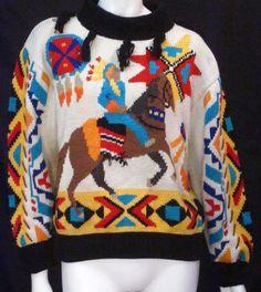 Berek Hand Knit Martha D Native American Chief Sweater - Medium * #Berek #Pullover
