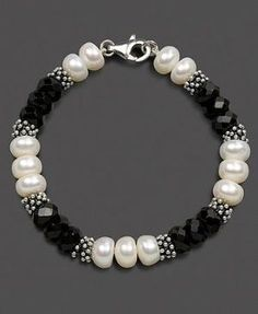 Sterling Silver Bracelet, Cultured Freshwater Pearl and Onyx by becky by becky