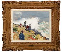 """Stormy Sea, Nazare, Portugal"", Jay H. Connaway, 1965, oil on board, 8 x 10"", private collection."
