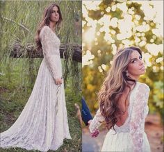 New Boho Lace Open Back Wedding Dress Long Ivory White Bridal Gown Custom Size in Clothing, Shoes & Accessories, Wedding & Formal Occasion, Wedding Dresses | eBay!