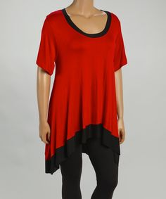 Another great find on #zulily! Red & Black Scoop Neck Blouson Top - Plus by CANARI #zulilyfinds