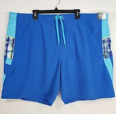 ef90778fabfb9 Roundtree & Yorke Mens Swim Suit Trunks Green Blue Striped Trees Polyester  NEW | eBay