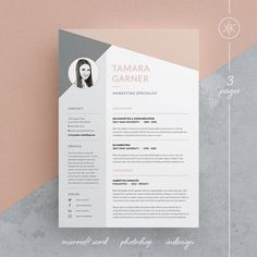 Tamara Resume/CV Template Word Photoshop InDesign Resume Template 3 page Cv Template Word, Indesign Resume Template, Teacher Resume Template, Free Cv Template, Resume Template Download, Letterhead Template, Resume Design Template, Graphic Design Templates, Cover Letter Design