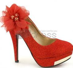 Red flowers diamond wedding shoes