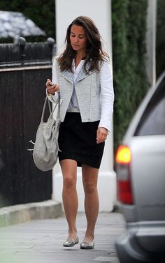 Sandro vernis jacket and skirt,blouse Aruna Seth bag Jermimavine flats