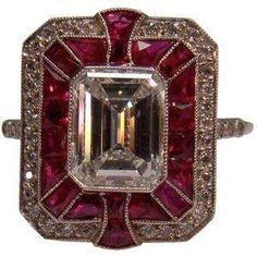 Art Deco rubi e anel de diamante em platina by Divonsir Borges