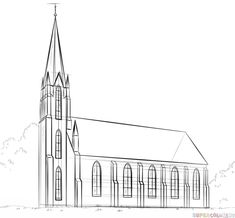 How to draw a church step by step. Drawing tutorials for kids and beginners.