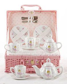 Delton Products Bella Ballerina Porcelain Tea Set in Case, Pink ** For more information, visit image link.