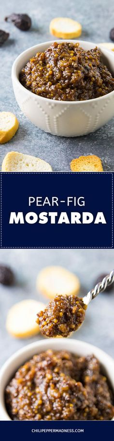 Pear-Fig Mostarda – No meat or cheese platter is complete without a savory-sweet mostarda. Spread it over cheeses, sliced meats or bread for a tasty bite. Here is the recipe.  #recipe #recipeoftheday #recipeideas #recipesharing #mostarda #saucerecipe #spreadrecipe #condiment #cooking