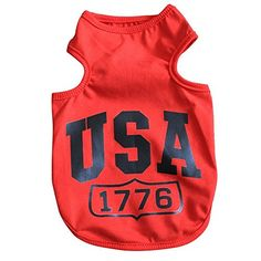 Dogloveit USA Summer Vest T Shirt Clothes for Pet Puppy Dog Cat, Red, X-Small ** You can find more details by visiting the image link. (This is an affiliate link) Summer Vest, Summer Shirts, Spring Summer, Pet Puppy, Dog Cat, Dog Accesories, Accessories, Cute Dog Clothes, Cat Reading