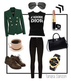 My look 29/07/2017 by tanarasanzon on Polyvore featuring moda, Christian Dior, Balmain, Paige Denim, Monsoon, Chanel, Gucci and Yves Saint Laurent