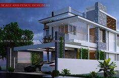 Scale and Pencil provides Modern Residential Design in Edappally, Kochi. Latest New Home Designs in Ernakulam, Kerala that fulfill your dreams. Modern Exterior House Designs, Modern House Plans, Modern House Design, Exterior Design, House Outer Design, House Outside Design, House Front Design, Home Design Images, New Home Designs