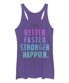 Purple Heather 'Faster Stronger Happier' Raw-Edge Racerback Tank