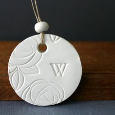 White Monogrammed Ornament Stamped Polymer by CherryRedToppers, $8.00
