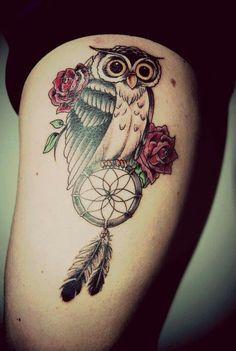Owl roses dream catcher