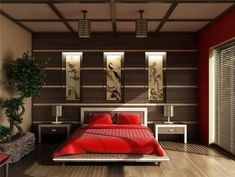 asian themed bedroom furniture decoration ideas low bed bonsai tree decorative wall panels