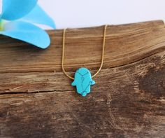 Hamsa Turquoise necklace blue Hand Hand of Fatima by GivonJewelry