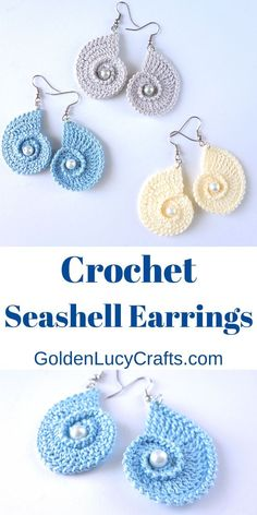 The design of these beautiful crochet seashell earrings was inspired by the sea. They are made in the shape of nautilus seashells and are embellished with pearl beads. Crochet Pattern Free, Crochet Earrings Pattern, Crochet Jewelry Patterns, Crochet Accessories, Doily Patterns, Dress Patterns, Thread Crochet, Crochet Stitches, Knit Crochet