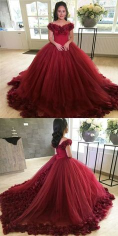 Unique Prom Dresses, A-Line Off the Shoulder Lace-Up Burgundy Tulle Prom Dress with Appliques, There are long prom gowns and knee-length 2020 prom dresses in this collection that create an elegant and glamorous look Tulle Ball Gown, Ball Gowns Prom, Tulle Prom Dress, Ball Dresses, Evening Dresses, Unique Prom Dresses, Red Wedding Dresses, Popular Dresses, Cute Dresses