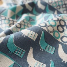 Summer Holidays Turquoise Cotton Linen Fabric - Guthrie & Ghani