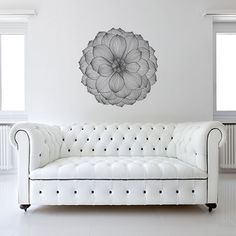 "#NewYearNewRoom This dramatic peel and stick floral wall decal measures 38""x38"" and looks great on white wall or on a brightly-painted one."