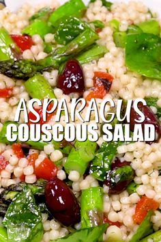 Healthy Couscous Salad with Asparagus is the perfect vegan side dish veganinthefreezer sides asparagus couscous salad couscousrecipes 195273333832694869 Pearl Couscous Salad, Israeli Couscous Salad, Couscous Salad Recipes, Healthy Salad Recipes, Vegetarian Recipes, Couscous Healthy, Pearl Couscous Recipes, Mediterranean Couscous Salad, Gluten Free Recipes