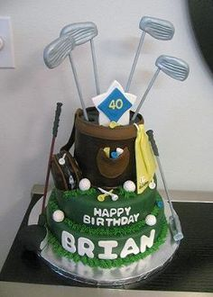 Golf clubs are gumpaste on wooden dowels, gumpaste decorations and the rest is cake