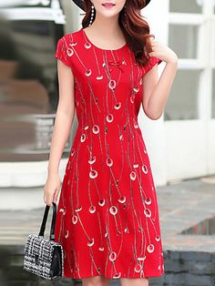 Round Neck Printed Shift Dress - Look Fashion Cheap Dresses Online, Dress Online, Dress Silhouette, Collar Dress, Look Fashion, Fashion Styles, Buy Dress, Fashion Dresses, Short Sleeve Dresses
