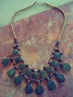 Afghan Tribal Vintage Green agate stone Necklace.Bib Necklace- Collar neckpiece. Gypsy jewelry. Vintage Kuchi Necklace.Statement Necklace