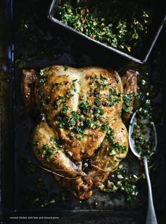 roasted chicken with kale and almond pesto / donna hay