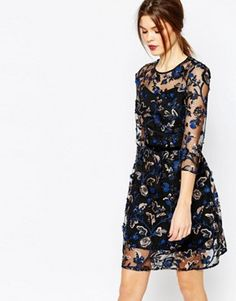 Warehouse Premium Floral Embroidered Dress