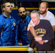 Steve Carell and Mark Ruffalo in the Foxcatcher movie and their real-life counterparts, John du Pont and Dave Schultz. See more pics at http://www.historyvshollywood.com/reelfaces/foxcatcher/