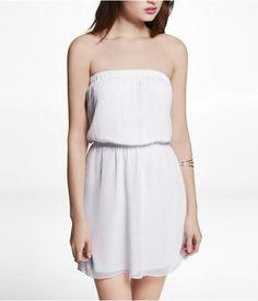 Express Womens Strapless Elastic Waist Chiffon Dress True White, Small