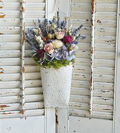Shabby Chic Dried Flower Arrangement /  Distressed by roseflower48, $25.00