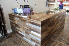 Reclaimed wood cashwrap. Use old Dining Hall floorboards.