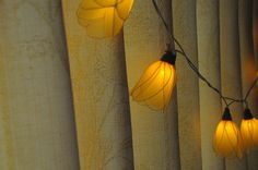 20 yellow Tulip flower string light patio hanging by cottonlight, $15.50
