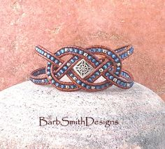 Blue Silver Beaded Leather Cuff Wrap Bracelet by BarbSmithDesigns