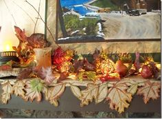 Fall leaf burlap mantel scarf.